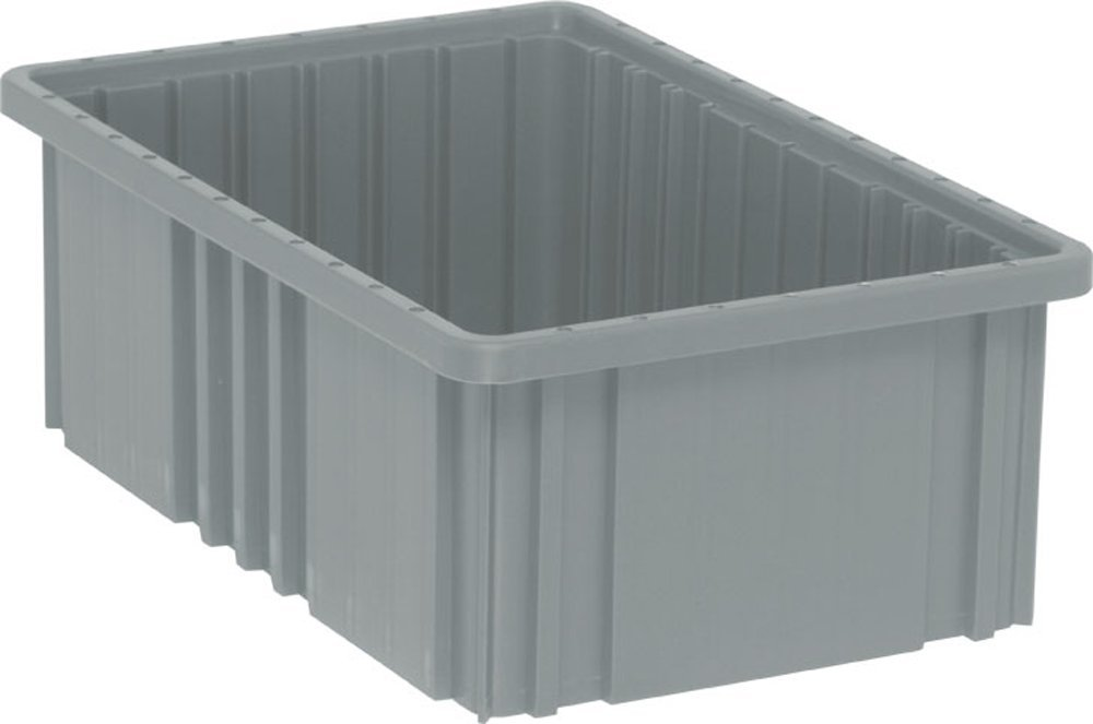 Quantum Storage Systems DG92060GY Dividable Grid Container 16-1/2-Inch Long by 10-7/8-Inch Wide by 6-Inch High, Gray, 8-Pack