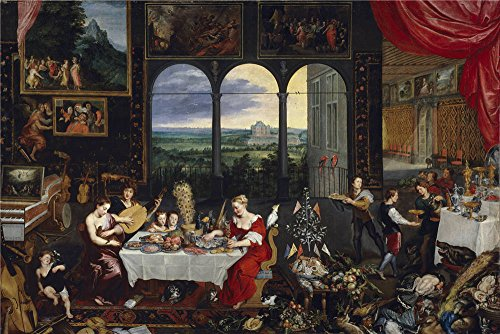 [High Quality Polyster Canvas ,the High Quality Art Decorative Canvas Prints Of Oil Painting 'Brueghel The Elder Jan El Gusto El Oido Y El Tacto Ca. 1620 ', 30 X 45 Inch / 76 X 114 Cm Is Best For Hallway Gallery Art And Home Artwork And Gifts] (Grease Jan Wig)