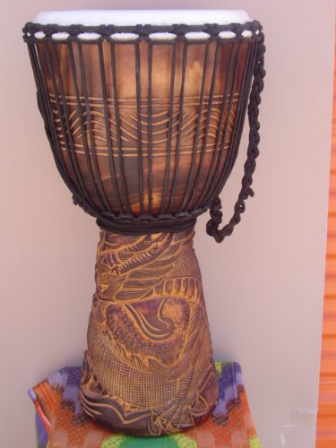 PRO DJEMBE 24'' X 14'' Djembe Deep Carved Hand Drum Bongo DRAGON - Model # 60m25 + COVER by madedrums