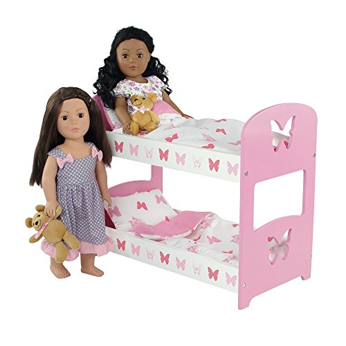 """Emily Rose 18 Inch Doll Furniture Clothes   Sleep Set Value Bundle Includes Bunk Bed with Reversible Bedding and 2 PJ Pajama Outfits Each with a Cuddle Teddy Bear!   Fits 18"""" American Girl Dolls from Emily Rose"""