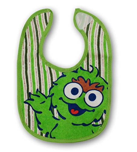 (Sesame Street Oscar The Grouch Striped Terry Bib for Baby Toddler 0+ Months)