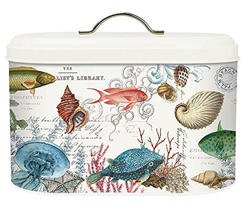 Michel Design Works Metal Kitchen Bread Bin with Lid, Sea (Life Metal)