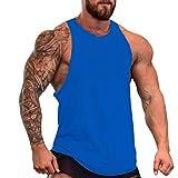 Men's Muscle Cut Stringer Workout T-shirt Bodybuilding Tank Top Blue, M
