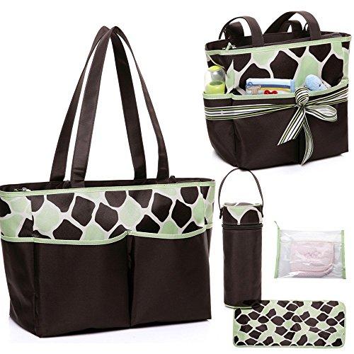 mengma 5pcs Bebé nailon–bolsa para pañales con cambiador Wet Bolsa Botella de leche bolsa rosa rosa Talla:largo verde claro