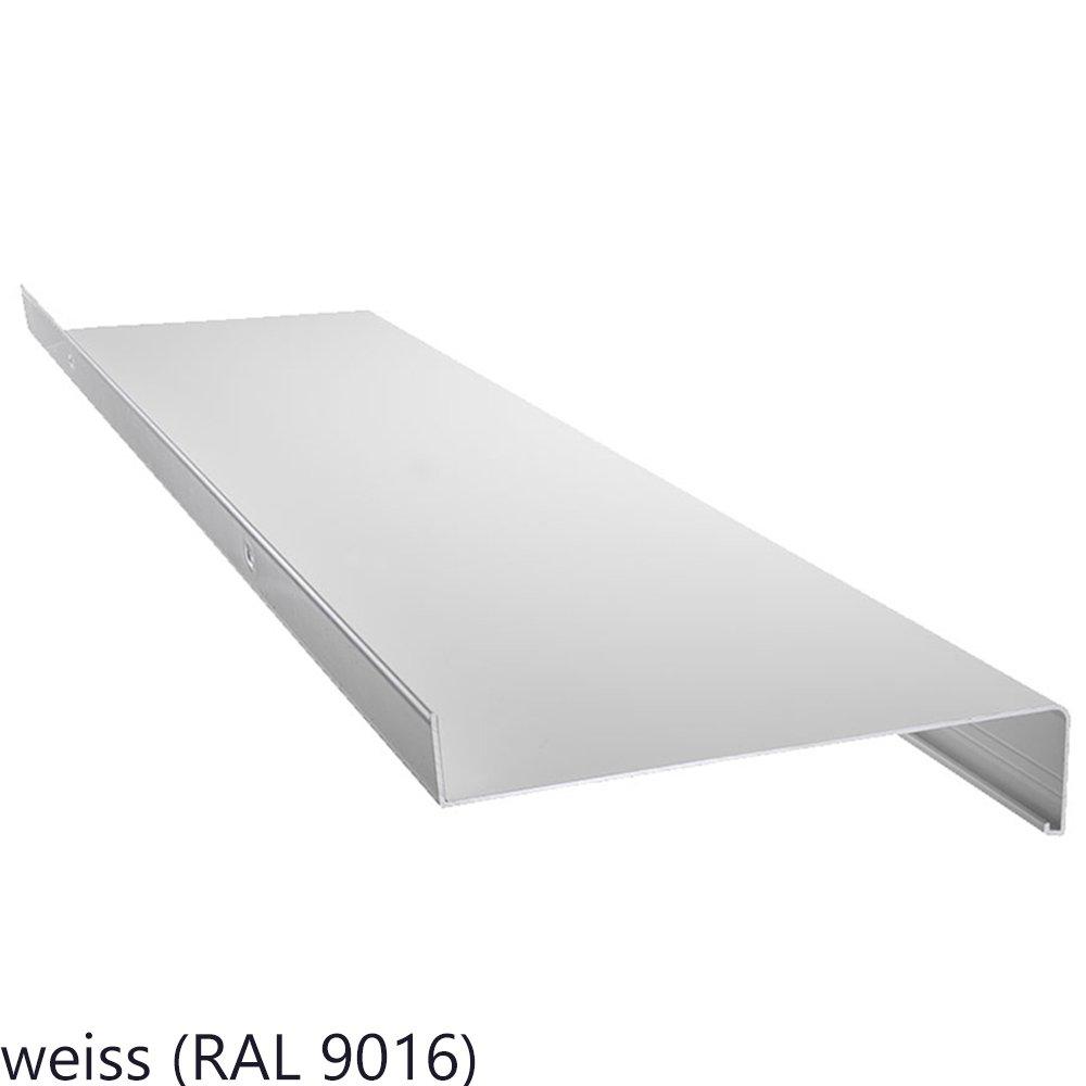 weitere L/ängen und Farben w/ählbar Aluminium Fensterbank in Wei/ß Zuschnitt nach Ma/ß L/änge 1300 mm Ausladung 165 mm