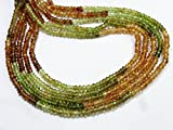 Full 13 Inch X 10 strand Multi color PETRO TOURMALINE Gemstone 3.5 mm Approx Micro Faceted Beads.