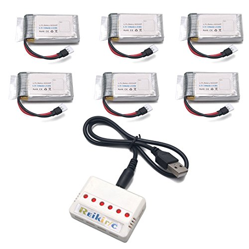 Reikirc 6pcs 3.7V 780mAh battery and 1to6 charger for A15W Udi U45 U42 U42W U42WH CW4 rc quadcopter drone spare parts by Reikirc