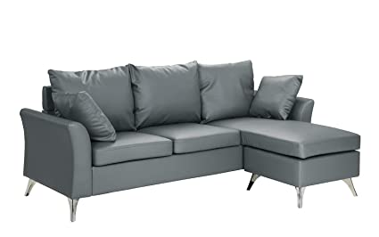 Beau Casa Andrea Milano Modern PU Leather Sectional Sofa   Small Space  Configurable Couch (Light Grey