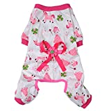 Pet Puppy Dog Cotton Pajamas Clothes Puppy Printed Pattern Jumpsuit Apparel(Pink-M)