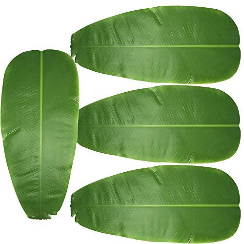 E-HAND Artificial Banana Leaf Leaves Tropical Leaves Decorations Luau Safari Party Supplies 4 PCS