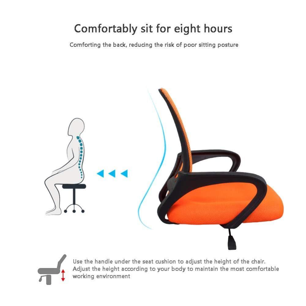 JIEER-C kontorsstol ergonomisk svängbar skrivbordsstol nät och läder hög rygg stöd hem konferensstol lyft svängbar stol personalstol stol stol – grön Orange
