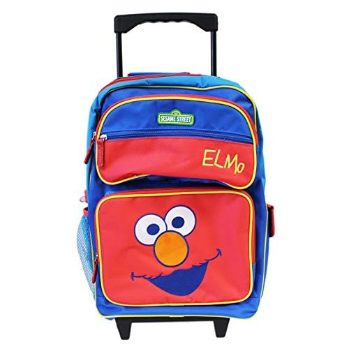 Sesame Street Elmo Face Red and Blue Rolling Backpack w/Water Bottle (16in)