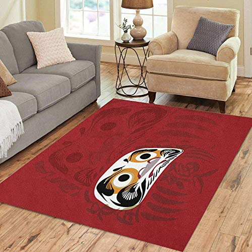 Semtomn Area Rug 3' X 5' Daruma Doll and Red of Japanese is Good Luck Meaning Popular Sign in Japan Home Decor Collection Floor Rugs Carpet for Living Room Bedroom Dining Room