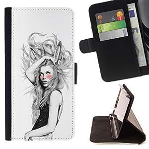 Momo Phone Case / Flip Funda de Cuero Case Cover - Orejas de conejo Chica;;;;;;;; - Samsung Galaxy S4 IV I9500