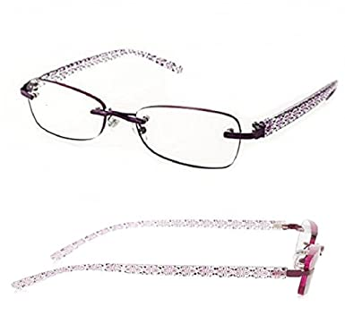 6f22937d50f Amazon.com  2 Pairs Foster Grant Woman s Purple Daniella Rimless Reading  Glasses (Purple