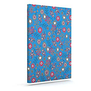 "Kess InHouse Michelle Drew ""Meadow"" Navy Paisley Outdoor Canvas Wall Art, 10"" x 12"""