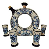 Liquor Decanter Set Tequila, Handmade and Hand Painted, Made of Baked Ceramic at High Temperature (01 Blue, 5)