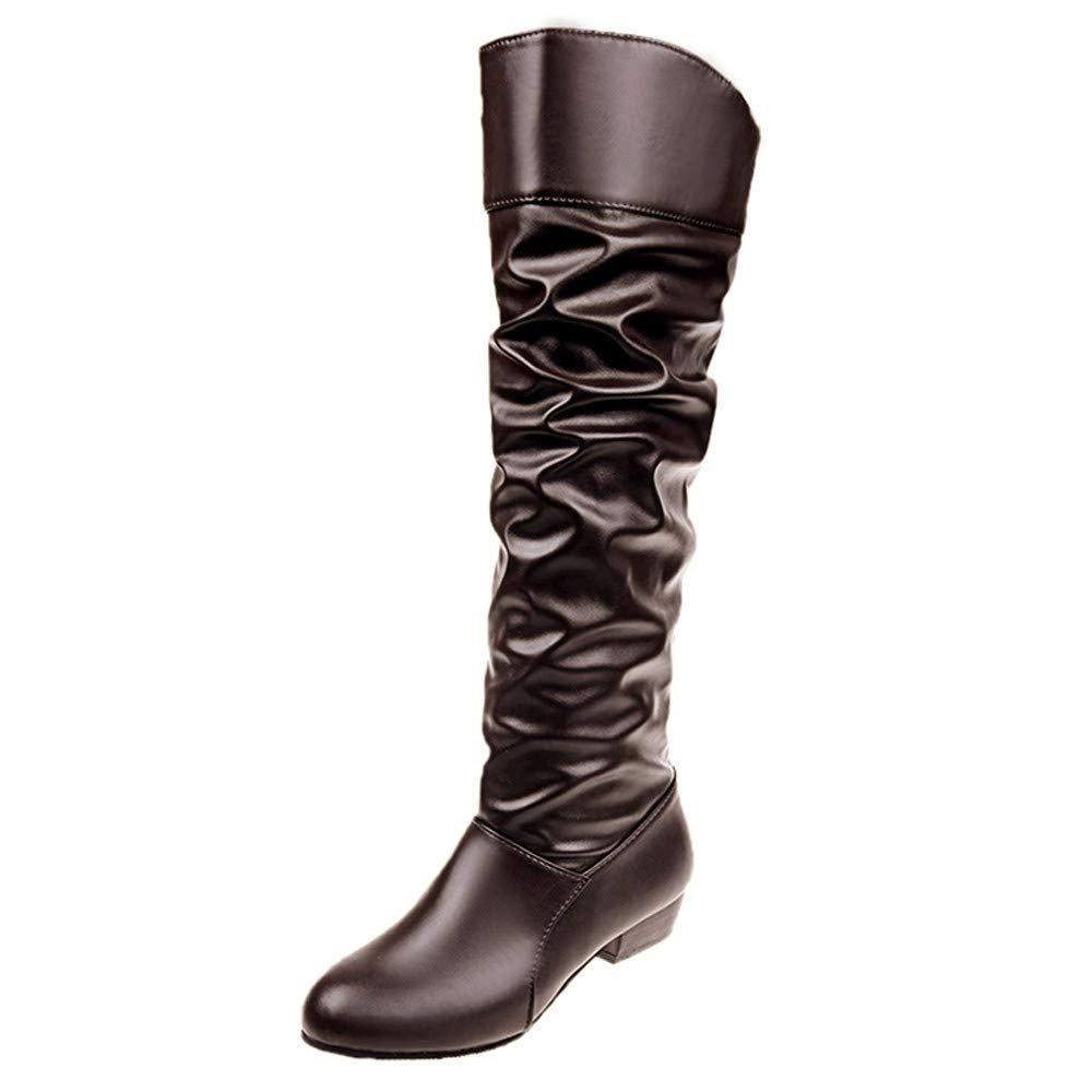Overknee Stiefel Damen, Elecenty Frauen Hohe Stiefeletten Langschaft Boots Lederstiefel Flache Party Schuhe Slip On Kampfstiefel Winterboots Winterstiefel Westernstiefel