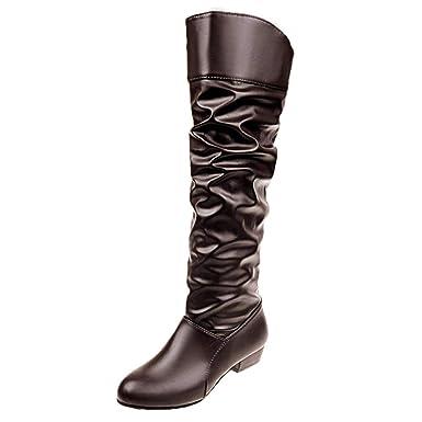 0ef7d70d425a1 Overknee Stiefel Damen,Elecenty Frauen Hohe Stiefeletten Langschaft Boots  Lederstiefel Flache Party Schuhe Slip On Kampfstiefel Winterboots ...