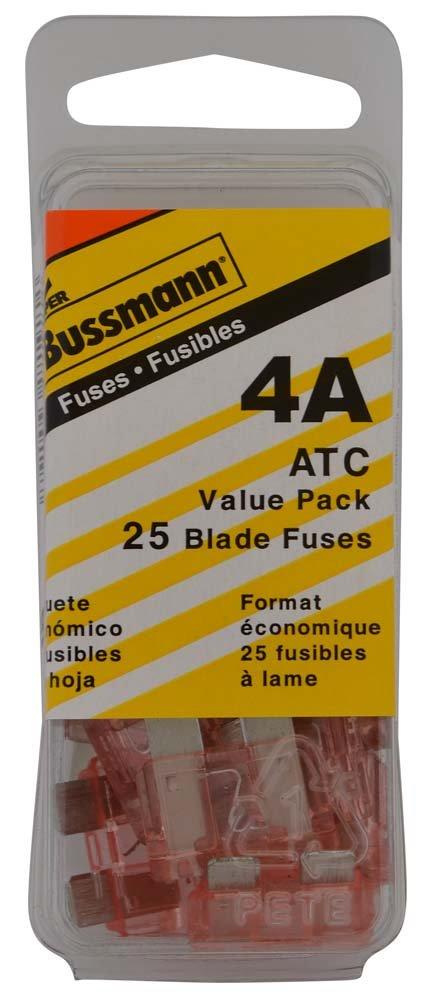 Bussmann (VP/ATC-4-RP) Pink 4 Amp 32V Fast Acting ATC Blade Fuse, (Pack of 25)