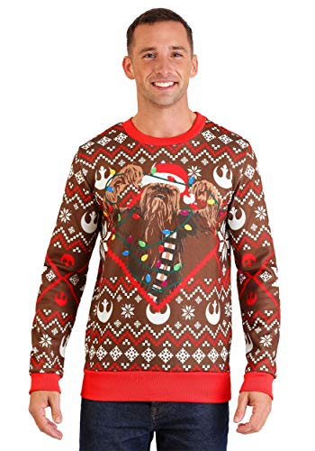 Star Wars Chewbacca Lights Brown/Red Ugly Christmas Sweater Medium