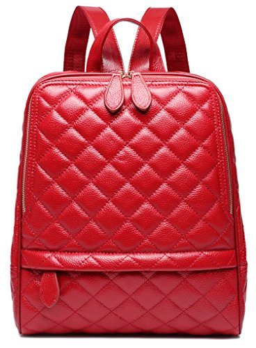 Coolcy Casual Women Real Genuine Leather Backpack New Vintage Style Shoulder Bag (Wine)
