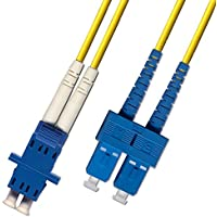 1ft Fiber Optic Adapter Cable LC (Female) to SC (Male) Singlemode 9/125 Duplex (Yellow)