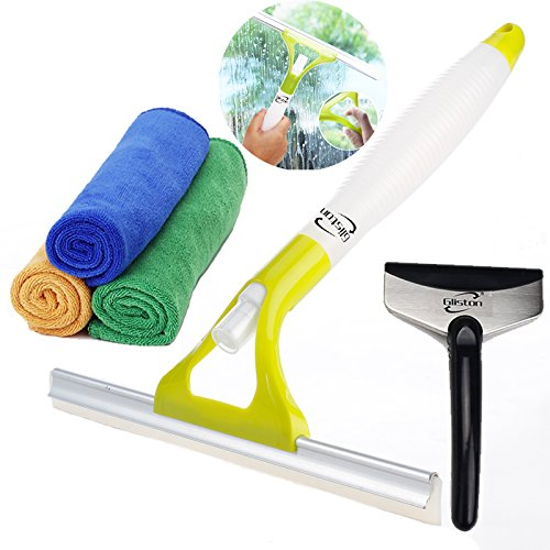 Gliston Pro Auto Squeegee for Car Window Glass with Spray Bottle + Extra Thick Microfiber Cleaning Towel(Cleaning Cloths)+Shovel (Blue Point Oil Filter)