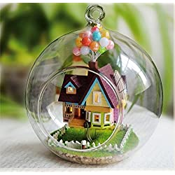 Crafting DIY Tiny Cute House Hobby Learning Imagination Enhance Skill IQ/EQ Gift Assembling Model Decoration Home Handmade Hanging Gift Cute Toy Novelty Doll House Light U-DI5