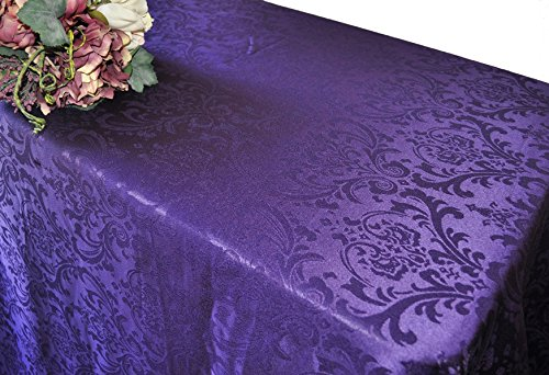 Wedding Linens Inc. 72 Inch x 120 Inch Rectangular Jacquard Damask Polyester Tablecloths Table Cover Linens for Restaurant Kitchen Dining Wedding Party Banquet Events - Eggplant (Damask Eggplant Tablecloth)