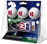 LinksWalker NCAA Nebraska Cornhuskers - 3 Ball Gift Pack with Key Chain Bottle Opener