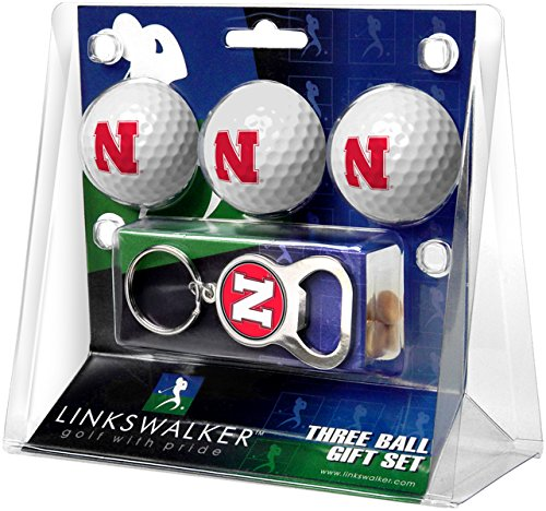 NCAA Nebraska Cornhuskers - 3 Ball Gift Pack with Key Chain Bottle Opener