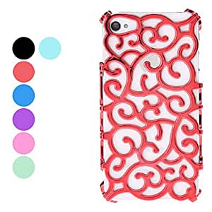 xiao Hollow Out Style Flower Design Hard Case for iPhone 4 and 4S (Assorted Colors) , Navy