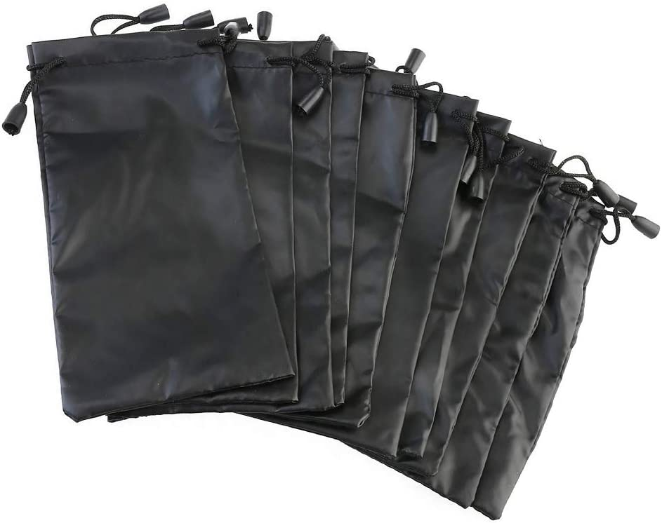 Toyvian 12 Pcs Sunglasses Storage Bag Eyeglasses Jewelry Drawstring Storage Pouch Waterproof Dustproof Gift Pouch Black
