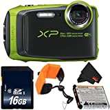 Fujifilm FinePix XP120 Digital Camera (Lime) 600019756 + 16GB SDHC Class 10 Memory Card + FUJI XP RUGGED FLOATING STRAP + MicroFiber Cloth Bundle