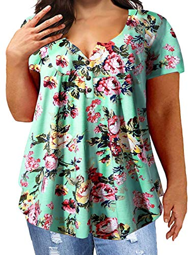 Womens Henley Shirts Short Sleeve Tee Tops Floral Print Ruffle Blouses K 24W