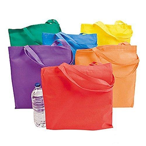 Fun Express Non-Woven Bright Tote Bags (Lg) (1 dozen) - Bulk [Toy]