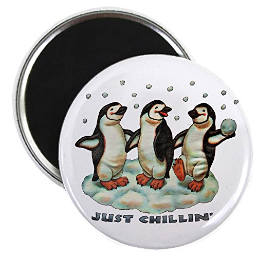 2.25 Inch Magnet Christmas Penguins Chillin In Snow