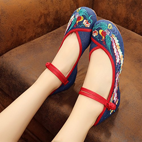 Wedge Women's Jane Shoes Phoenix Embroidered Old Eagsouni Darkblue Colorful Beijing Shoes Low Mary fwqvaR8vx