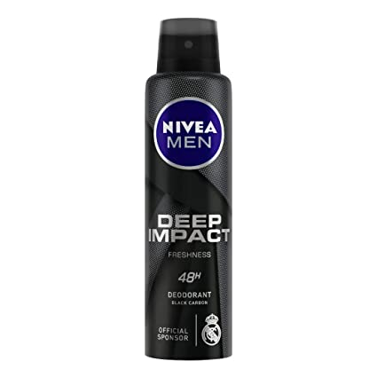 NIVEA MEN Deep Impact Freshness Deodorant, 150ml for 48h Freshness with Black Carbon