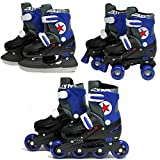 SK8 Zone Boys Blue 3in1 Roller Blades Inline Quad Skates Adjustable Size Childrens Kids Pro Combo Multi Ice Skating Boots Shoes New (Small 9-12 (27-30 EU))