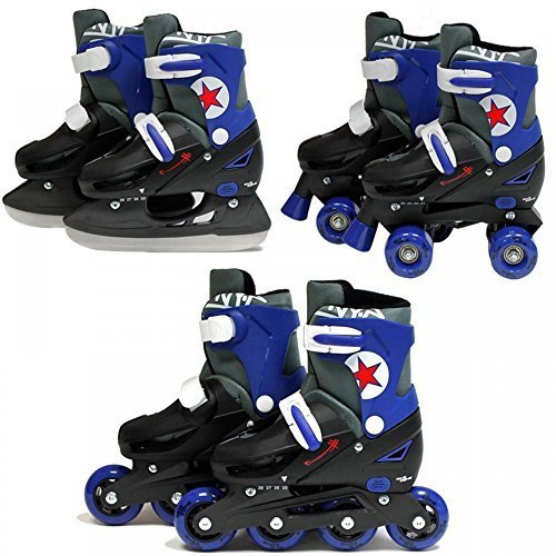 SK8 Zone Boys Blue 3in1 Roller Blades Inline Quad Skates Adjustable Size  Childrens Kids Pro Combo Multi Ice Skating Boots Shoes New 3945705ad