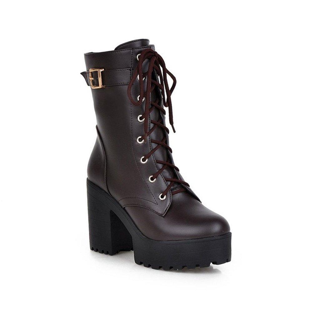 Qiangsoo Women's Lace-up Buckle Boots Combat Platform Chunky Heel Martin Boots B074TCQKGR 8.5 B(M) US|Brown