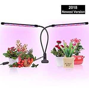 Grow Light, Grow Lights for Indoor Plants, Coson 18W 40 LED Bulbs Timming Plant Grow Lamp with Red, Blue Spectrum, 3/9/12H Timer, Dual Head Adjustable Gooseneck, 10 Garden Labels [2018 Newest Version]