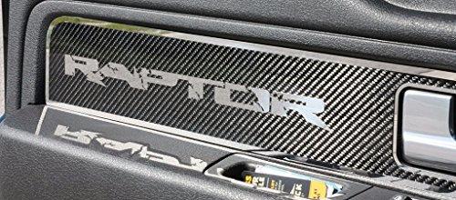 2010-2014 Ford Raptor/ F-150 - Carbon Fiber Front Door Panel Inserts w/ Polished Trim   2pc-PLAIN CARBON (150 Carbon Insert)