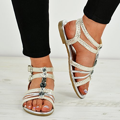 Knöchel Toe Peep Sandalen Schnalle Schuhe Fashion Damen Silber T Strass Strap Stud Größe Cucu Damen qBxz1Inaxw