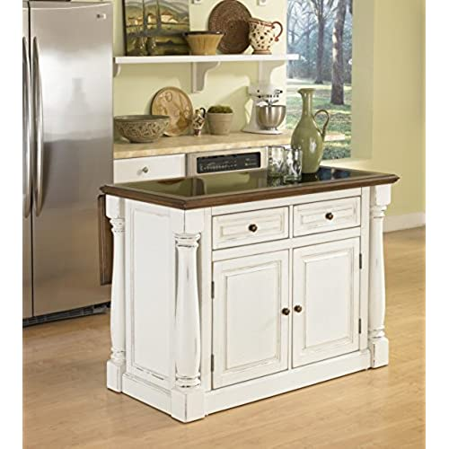 Home Styles 5021-94 Monarch Kitchen Island with Granite Top, Antiqued White  Finish