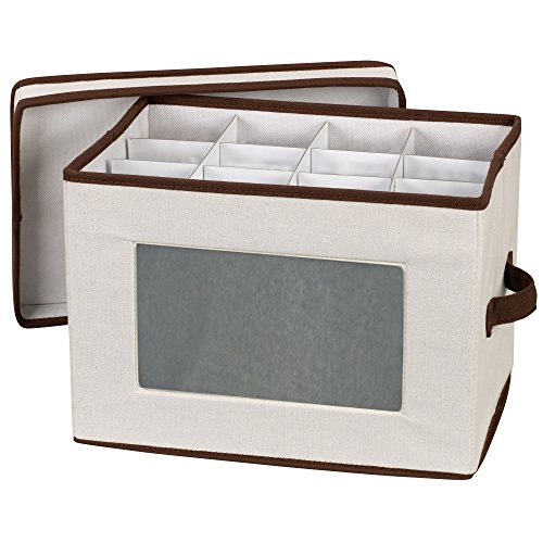 Household Essentials 544 Stemware Storage Box with Lid and Handles | Dinnerware Bin for Champagne Glasses | Natural Canvas with Brown Trim (Flute Glass)