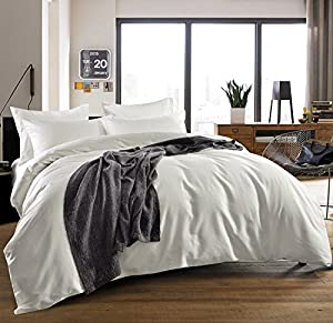 3-piece Luxury 100% Egyptian Cotton Solid Color Duvet Cover Set,Smooth & Ultra Soft (King, Cream White)
