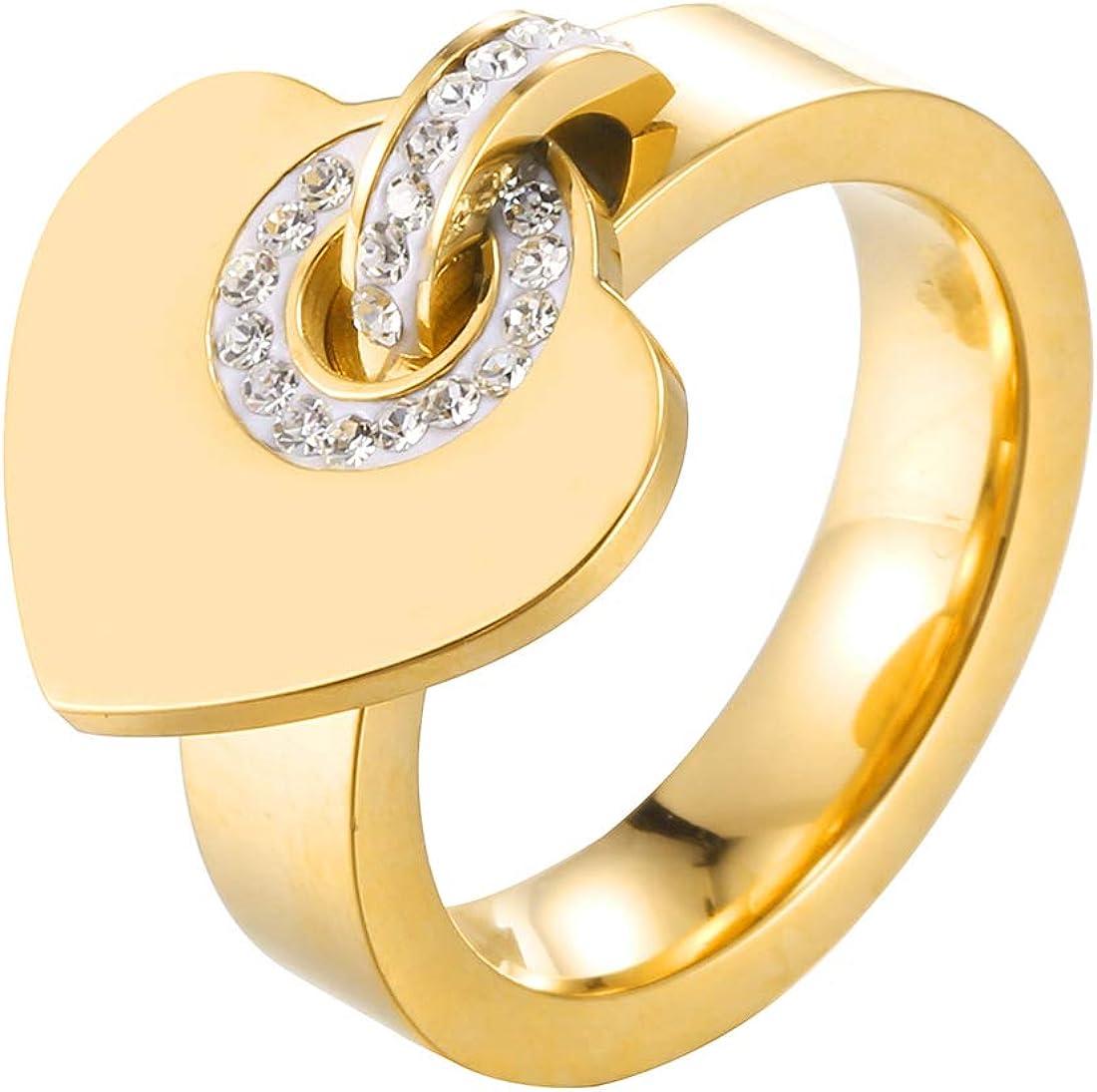 AFSTALR Bague Pendentif Coeur Femme Bague Zircon Cubique Cadeau Anniversaire Saint Valentin Or//Argent//Or Rose